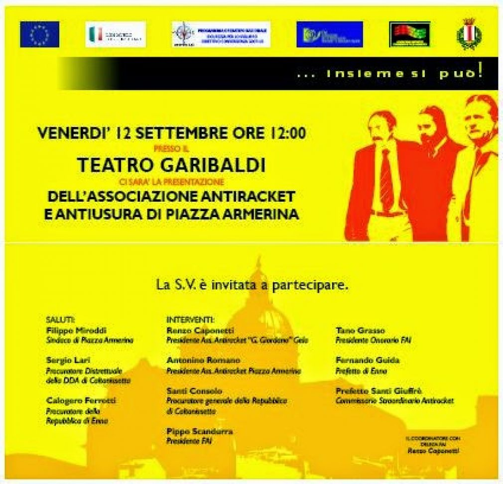 L'antiracket anche a Piazza